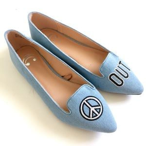C Wonder Blue Canvas Peace Out Pointed Flats 9